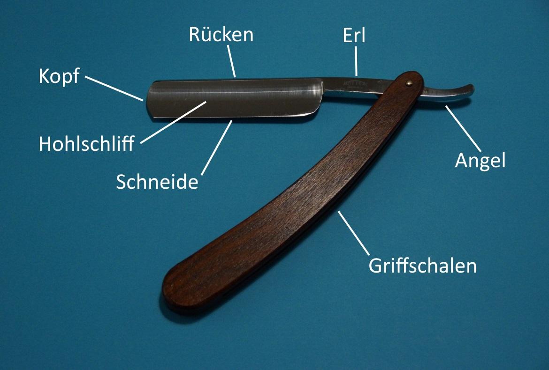 Rasiermesser Ansicht: Kopf, Schneide, Hohlschliff, Rücken, Erl, Angel, Griffschalen